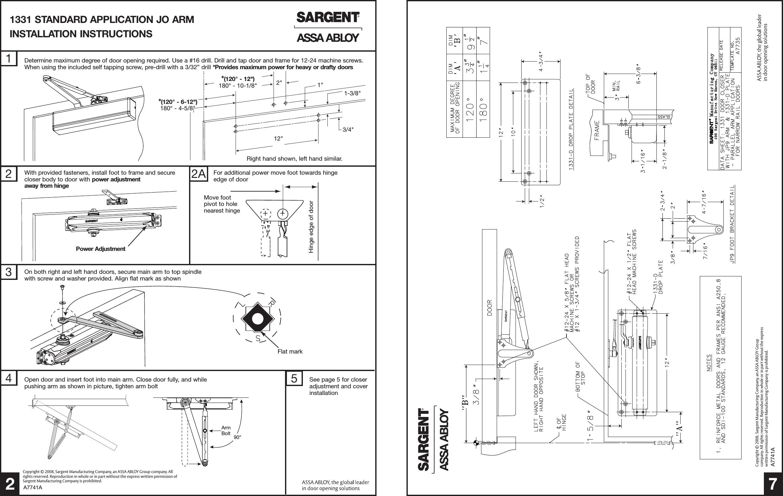 Sargent A7741a 1331 Series Door Closer Installation Manual Guide