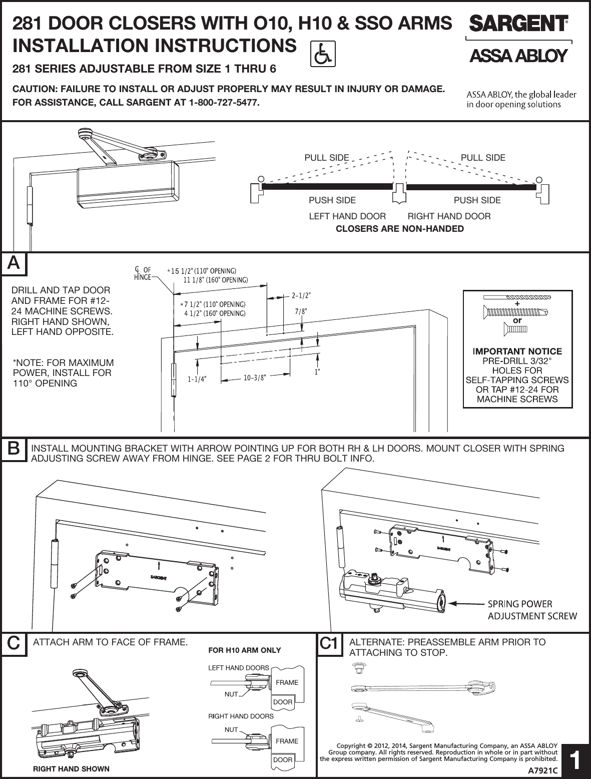 Sargent Installation Instructions For 281 Door Closers Manual Guide