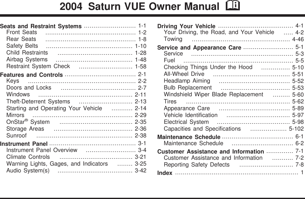 Saturn 2004 Vue Owners Manual Owner's