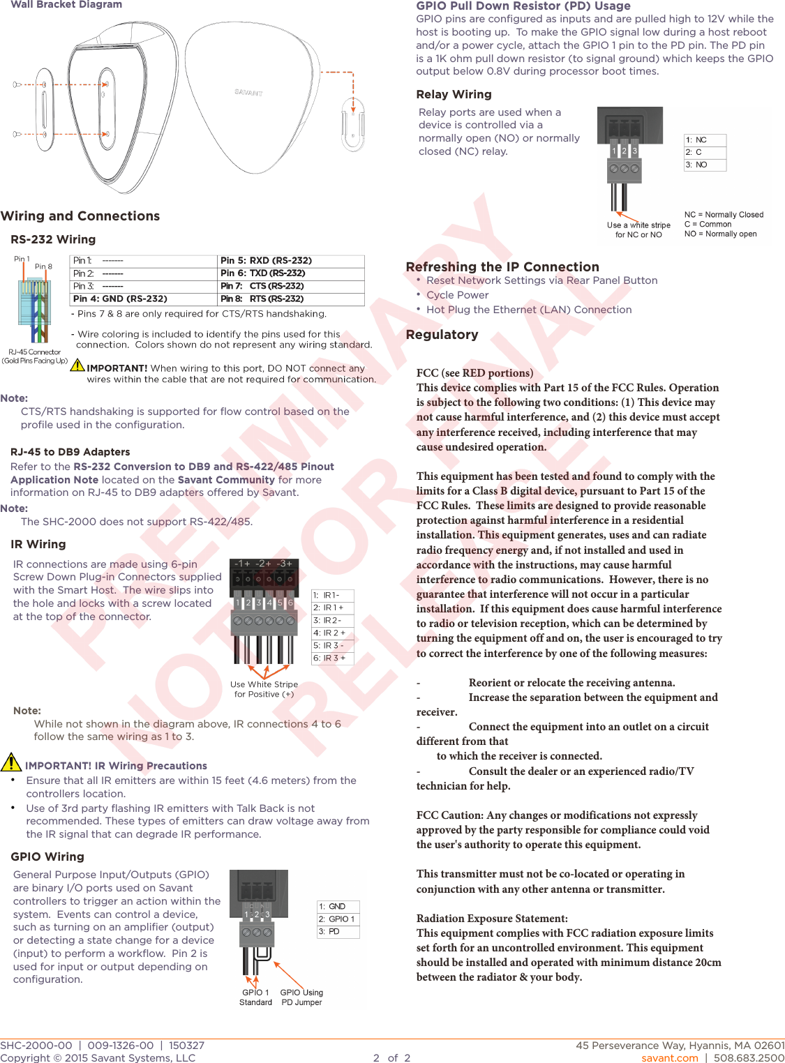 Savant Systems SHC2000 Smart Host Controller User Manual 009 1326 00