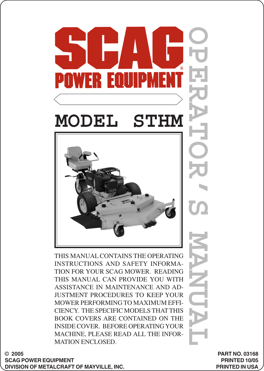 Scag Power Equipment Lawn Mower Sthm Users Manual 2006
