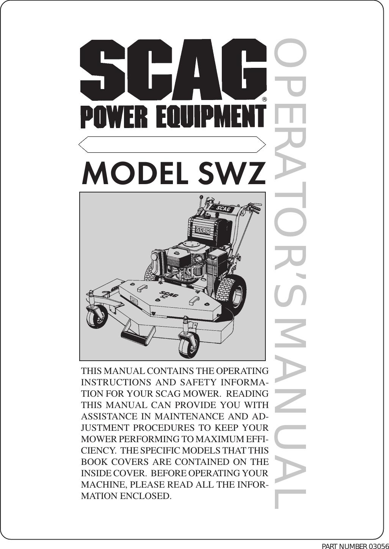 scag power equipment lawn mower swz users manual 99 operators cover p65