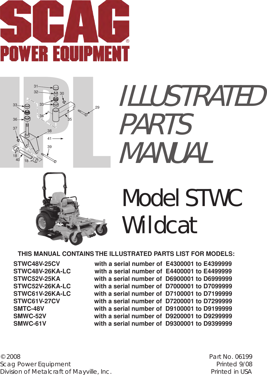 Scag Power Equipment Stwc Wildcat Smwc 52v Users Manual Ipl 06199 Wiring Harness
