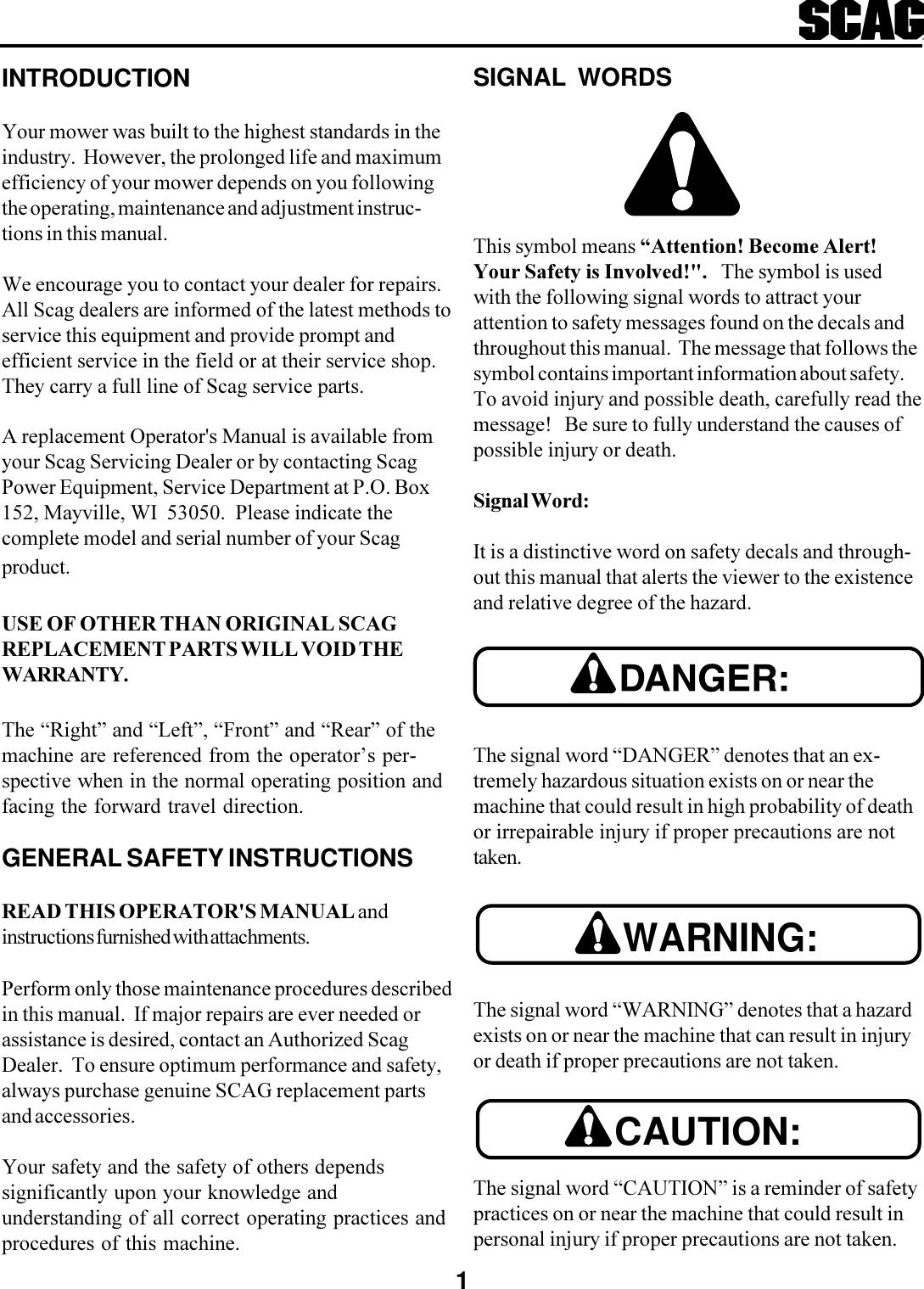 Scag Power Equipment Swu Users Manual