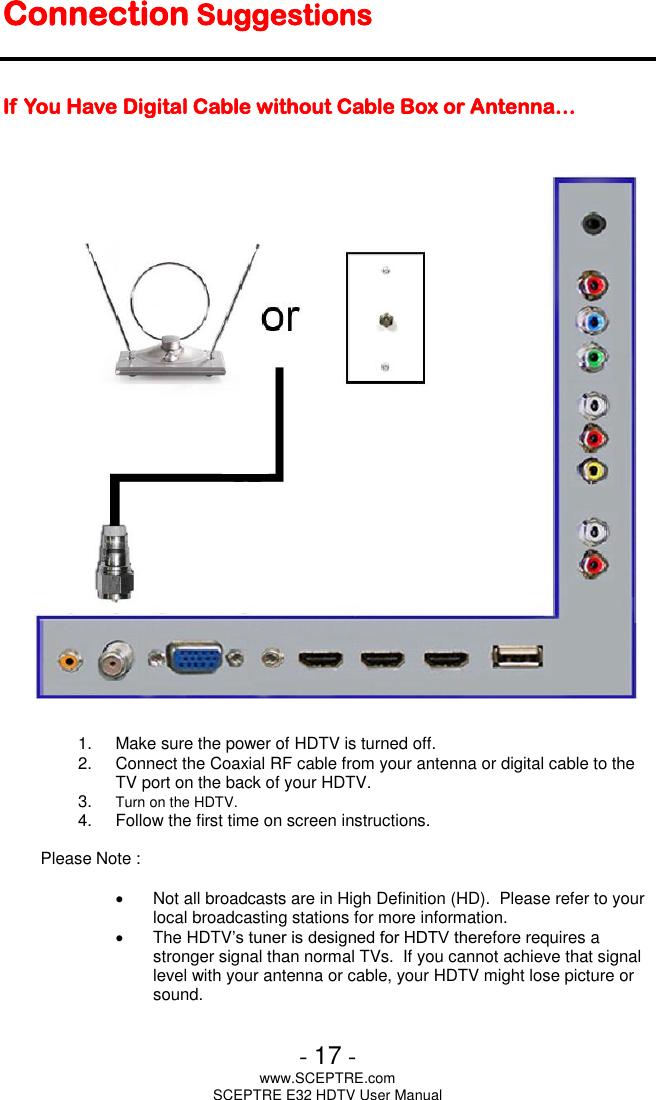 Sceptre Tv Antenna E32 Users Manual E325BV HD