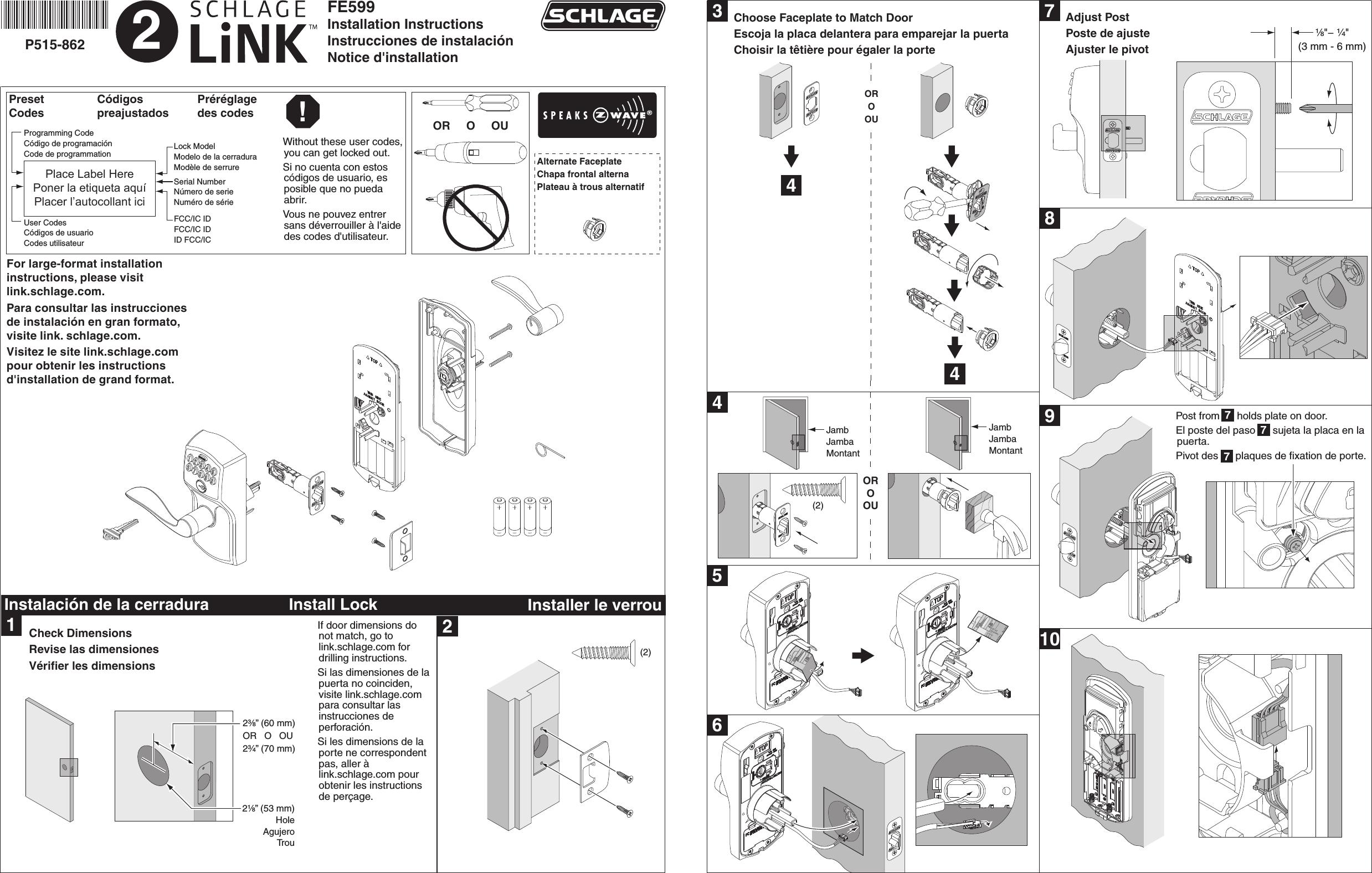 Schlage Electronic Security Fe599 Door Lock User Manual