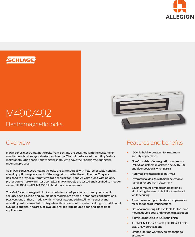 Schlage Electronics M490/492 Data Sheet 104204