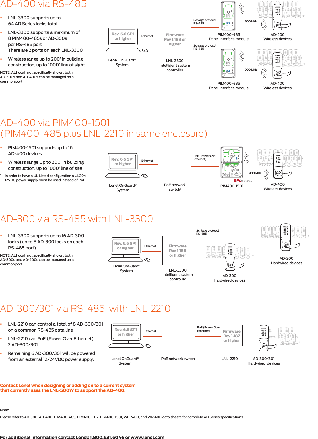 Schlage Electronics Solution Sheet Lenel Ad 300 400 105080 Wireless Wiring Diagrams Page 2 Of 4