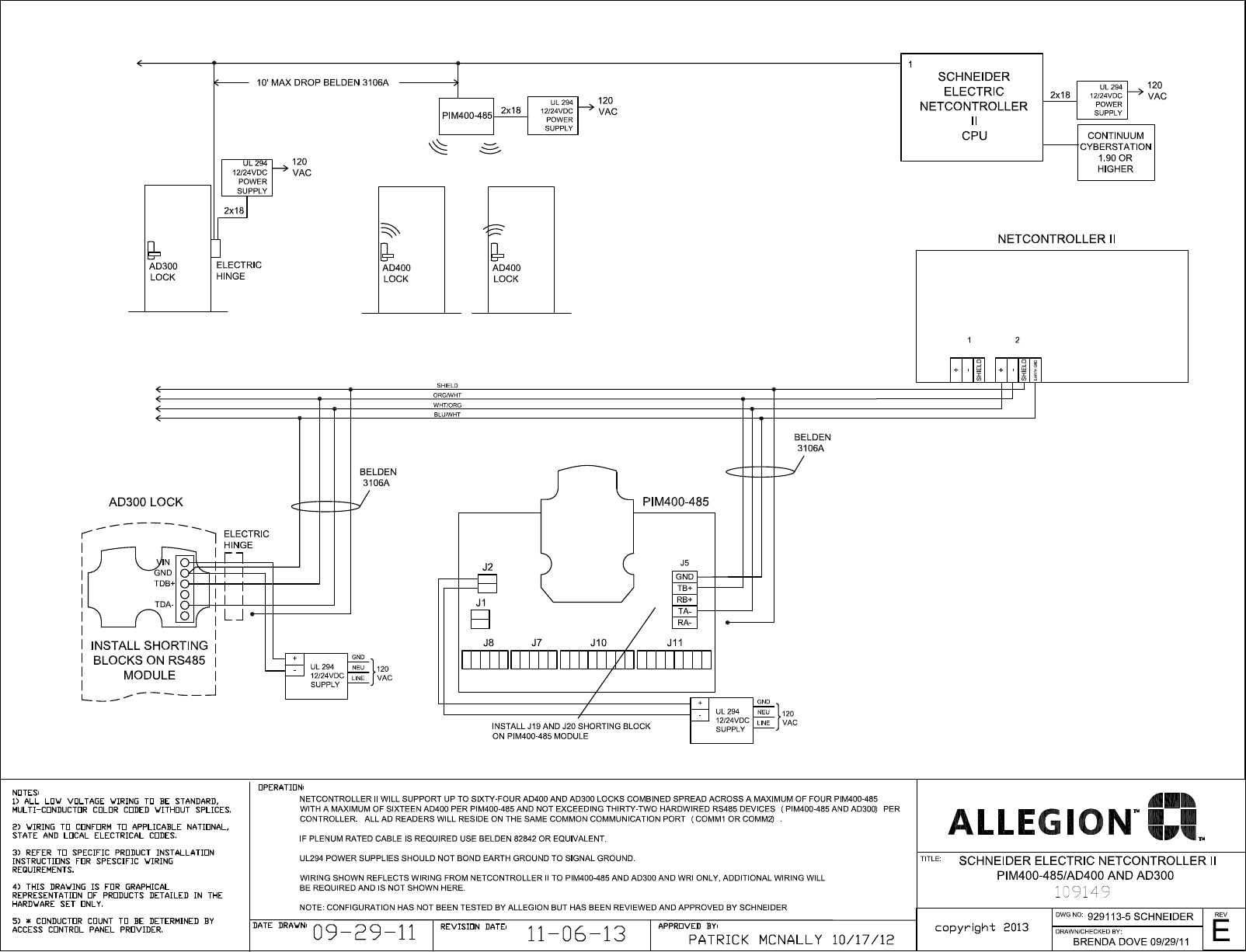 Schlage Electronics C Ad300 Ad400 Wiring Diagram Schneider Page 1 Of Netcontroller Ii Rs485