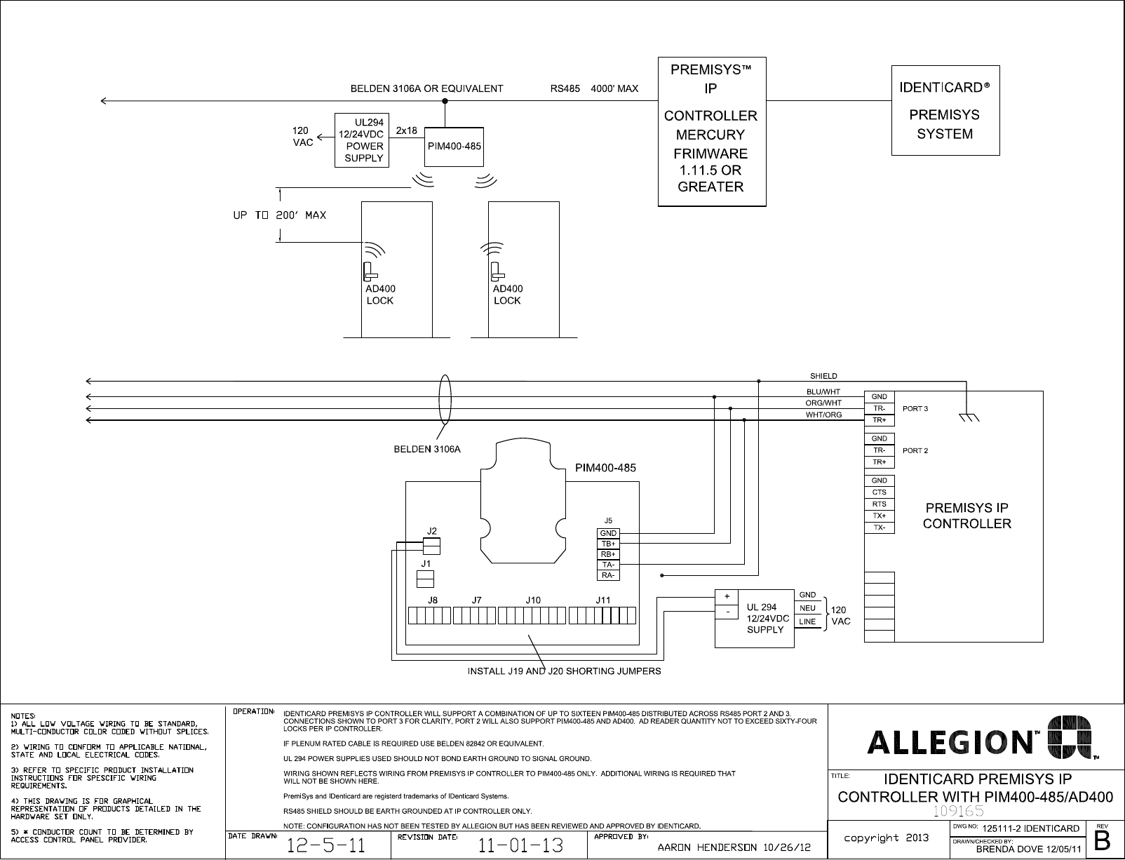 schlage electronics c ad400 wiring diagram identicard premi sys ip  controller rs485 109165