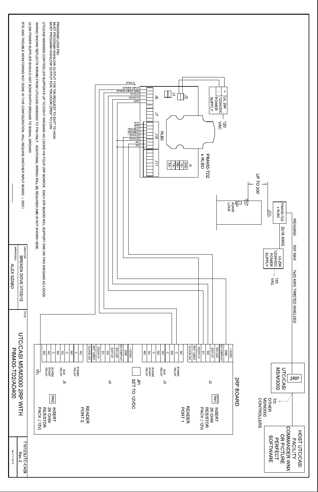 Schlage Electronics C Ad400 Wiring Diagram Utc Casi M5 M3000 2rp Wiegand 109176