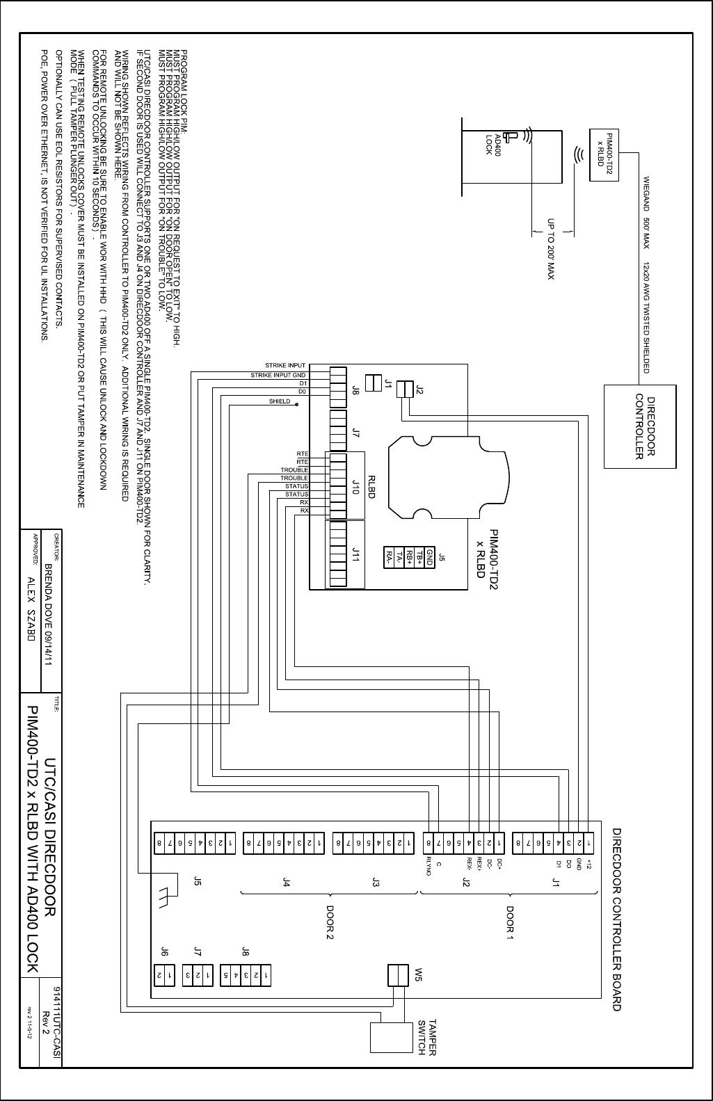 Schlage Electronics C Ad400 Wiring Diagram Utc Casi Direc Door Wiegand 109177