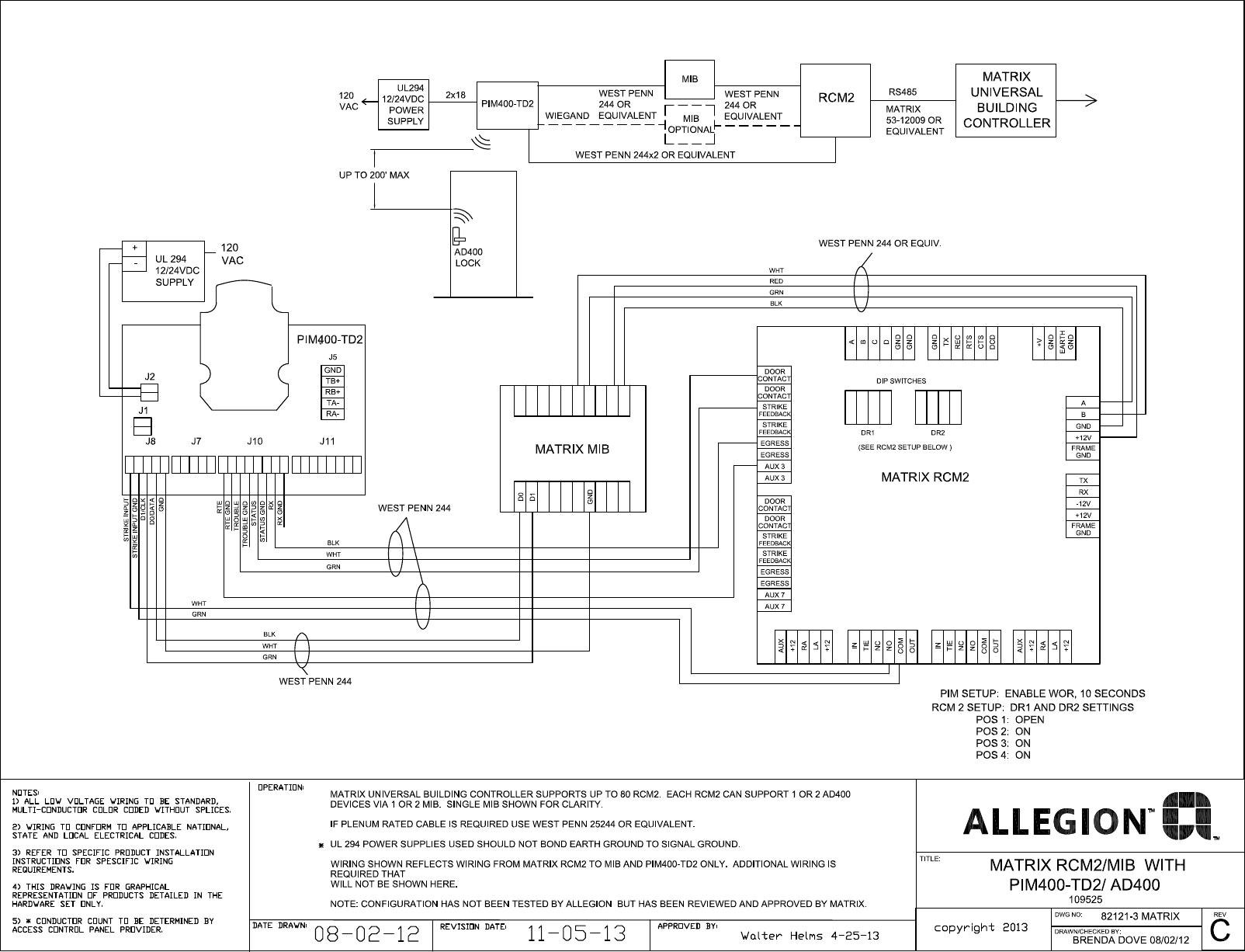 Schlage Electronics C Ad400 Matrix Ubc Rcm2 Wiegand Wiring Diagram