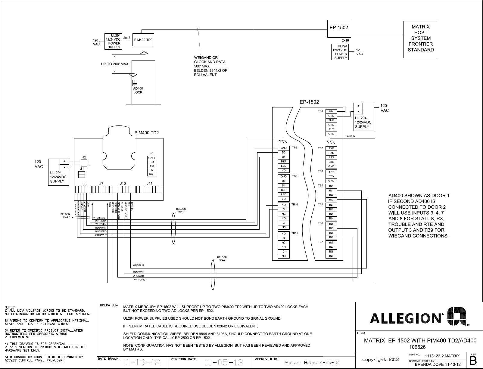 Schlage Electronics C Ad400 Matrix Ep1502 Wiegand Wiring Diagram 109526