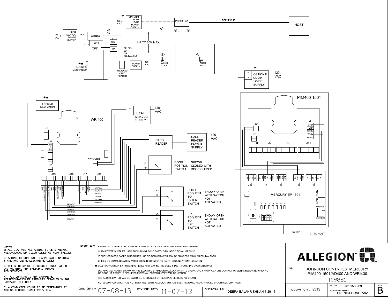 schlage electronics c ad ad400 wiring diagram johnson controls wri 400 pim400 1501 rs485 109881