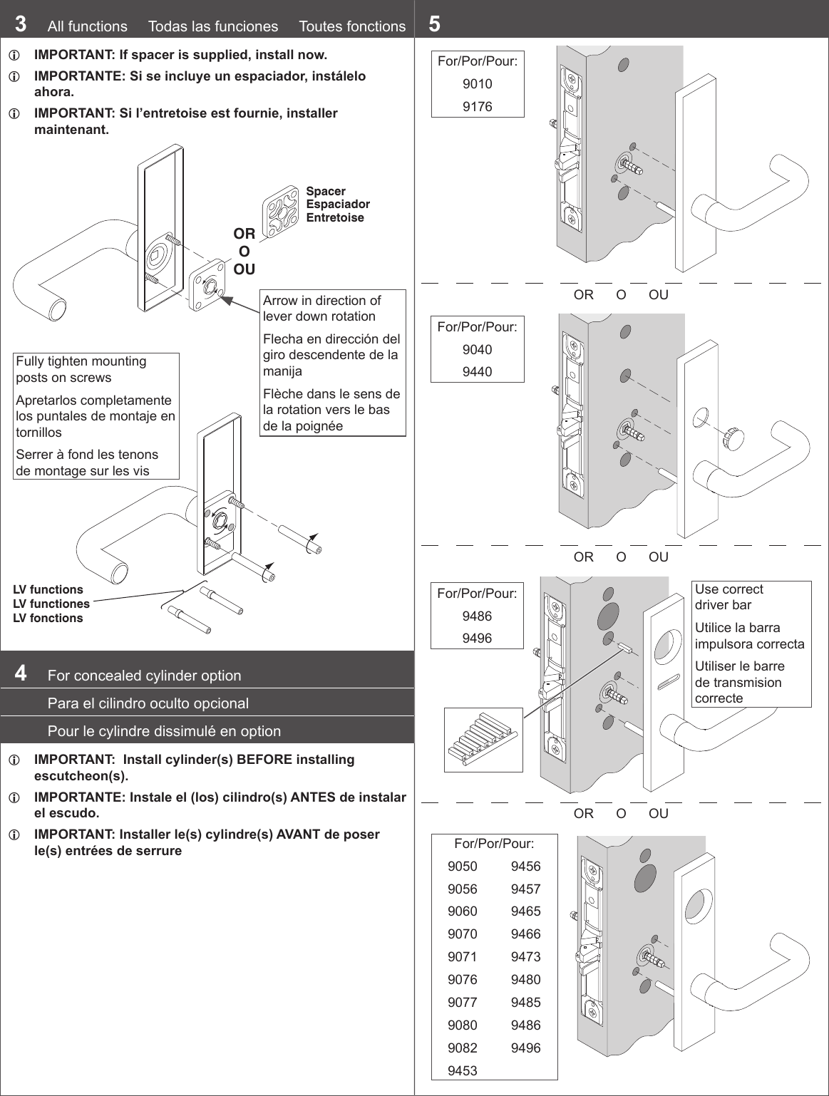 Schlage L9000 Series Wiring Diagram Electrical Diagrams Installation Instructions 108367 Mortise Lockset
