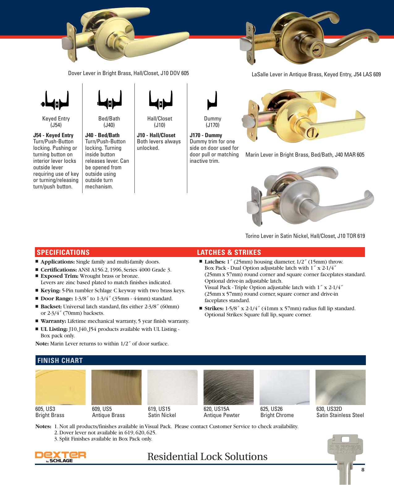 Dexter Schlage JH59 CNA 605 Corona Knob Interior Handle Bright Brass NEW