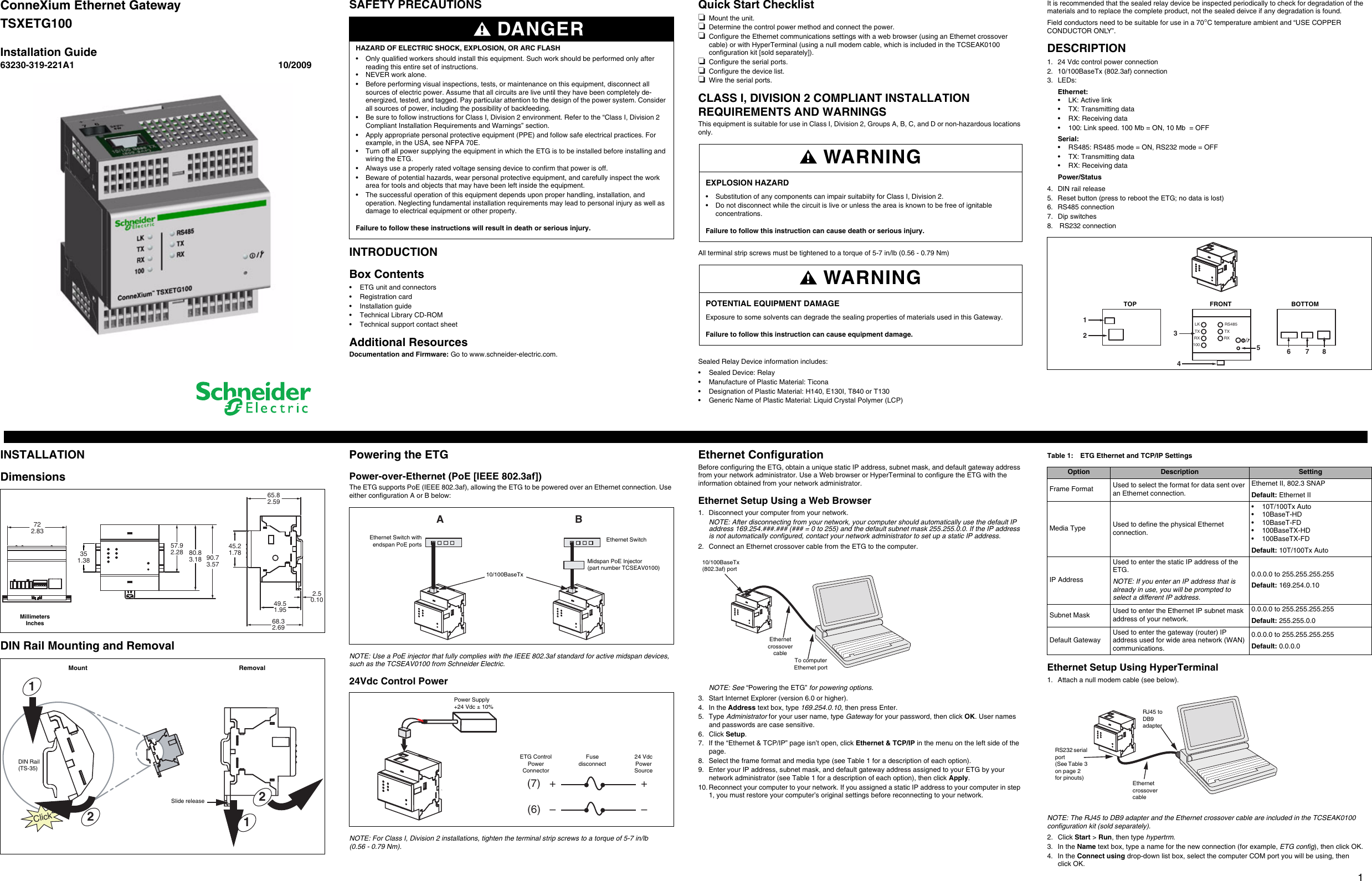 schneider electric connexium ethernet gateway tsxetg100 users manual installation guide eng