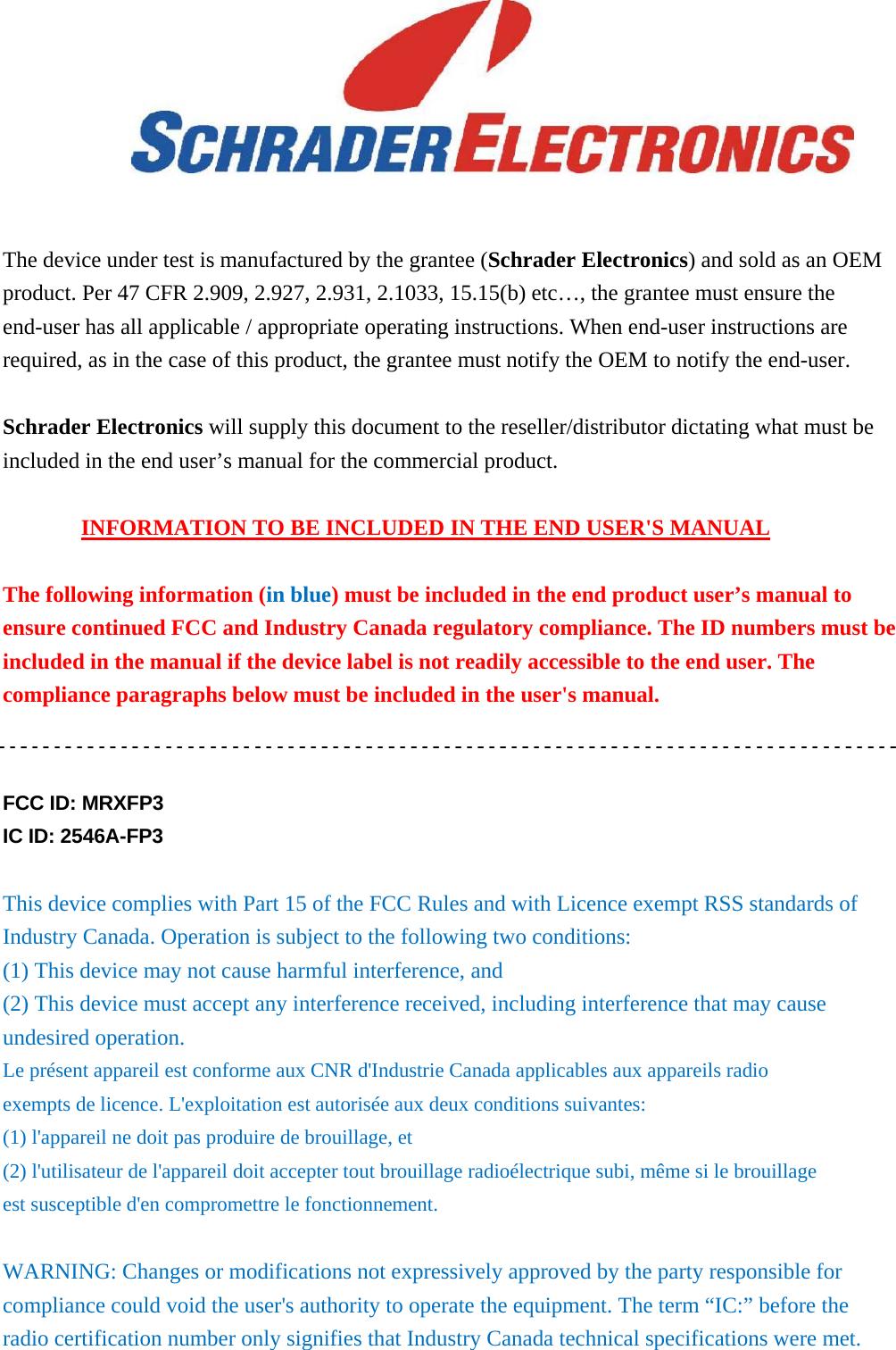 Schrader Electronics FP3 Tyre Pressure Monitoring Sensor