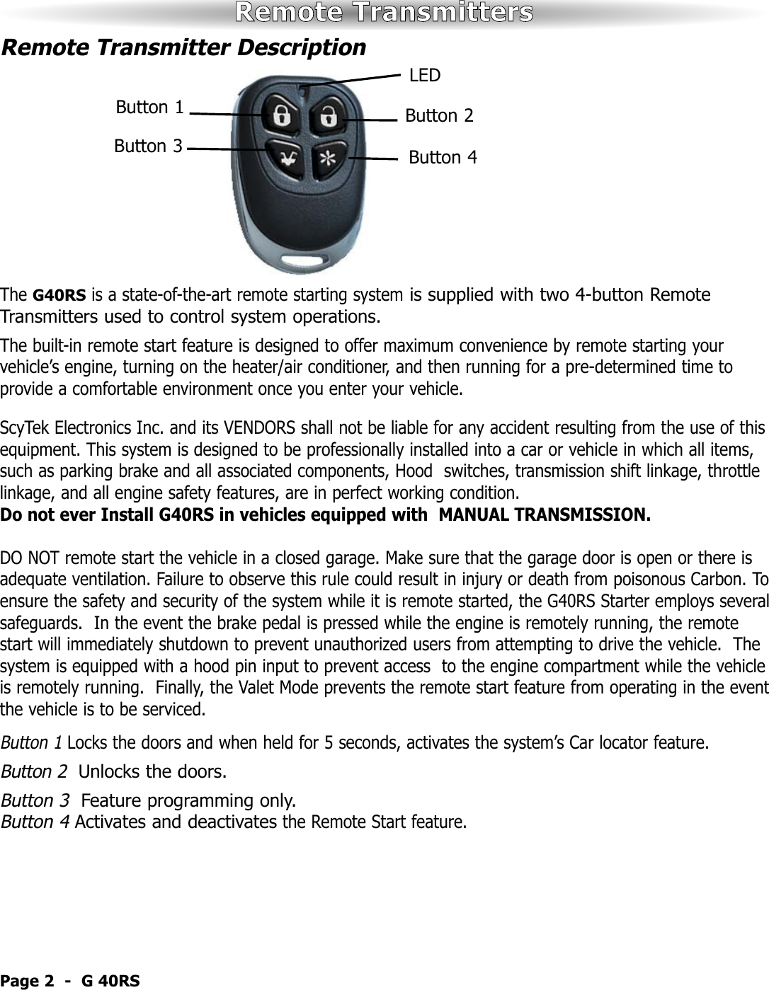 Scytek Electronic Galaxy G40rs Users Manual 10 9 09 Door Actuator Wiring Page 3 Of 12