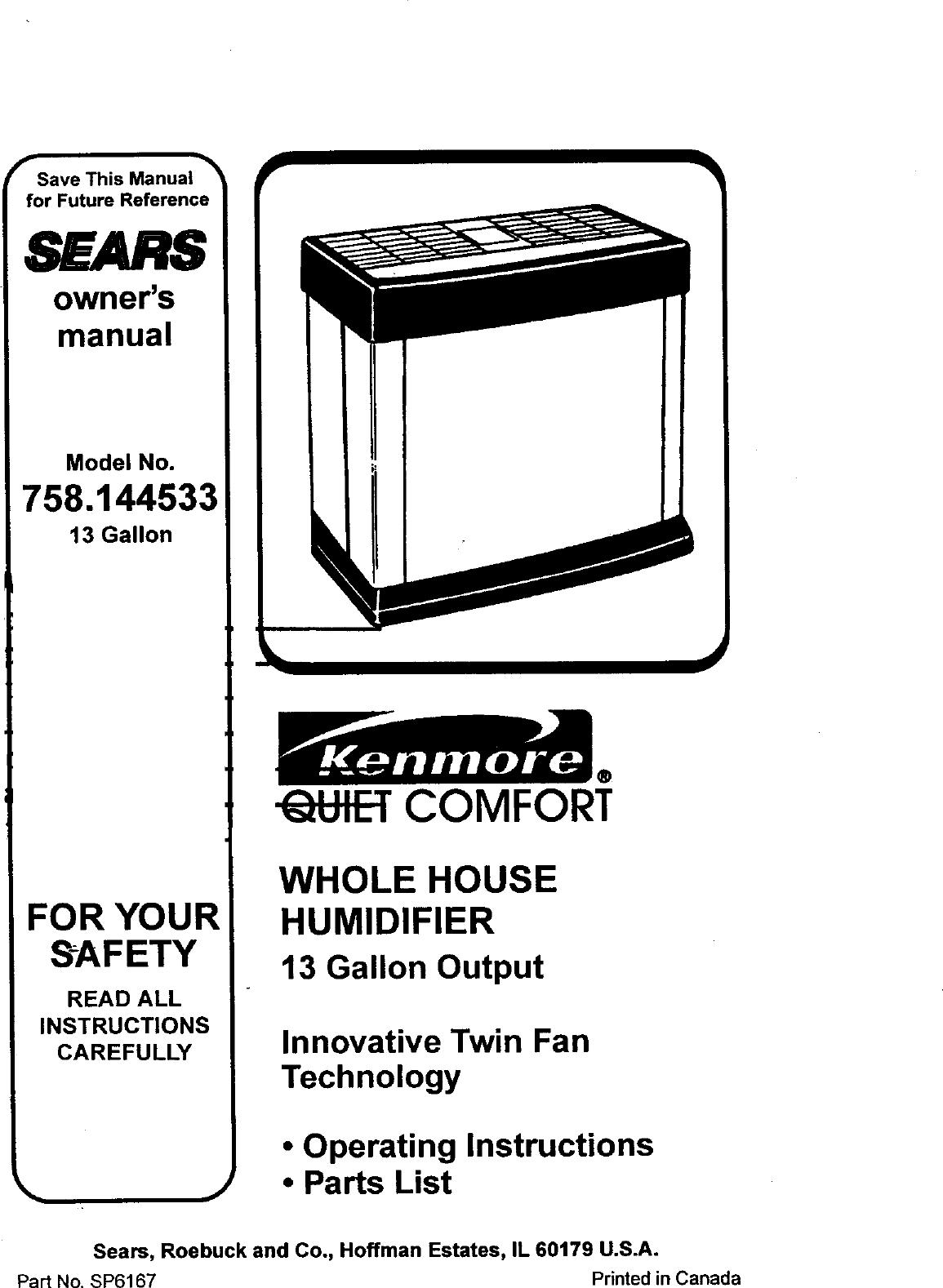 Sears Kemore 758 144533 Users Manual