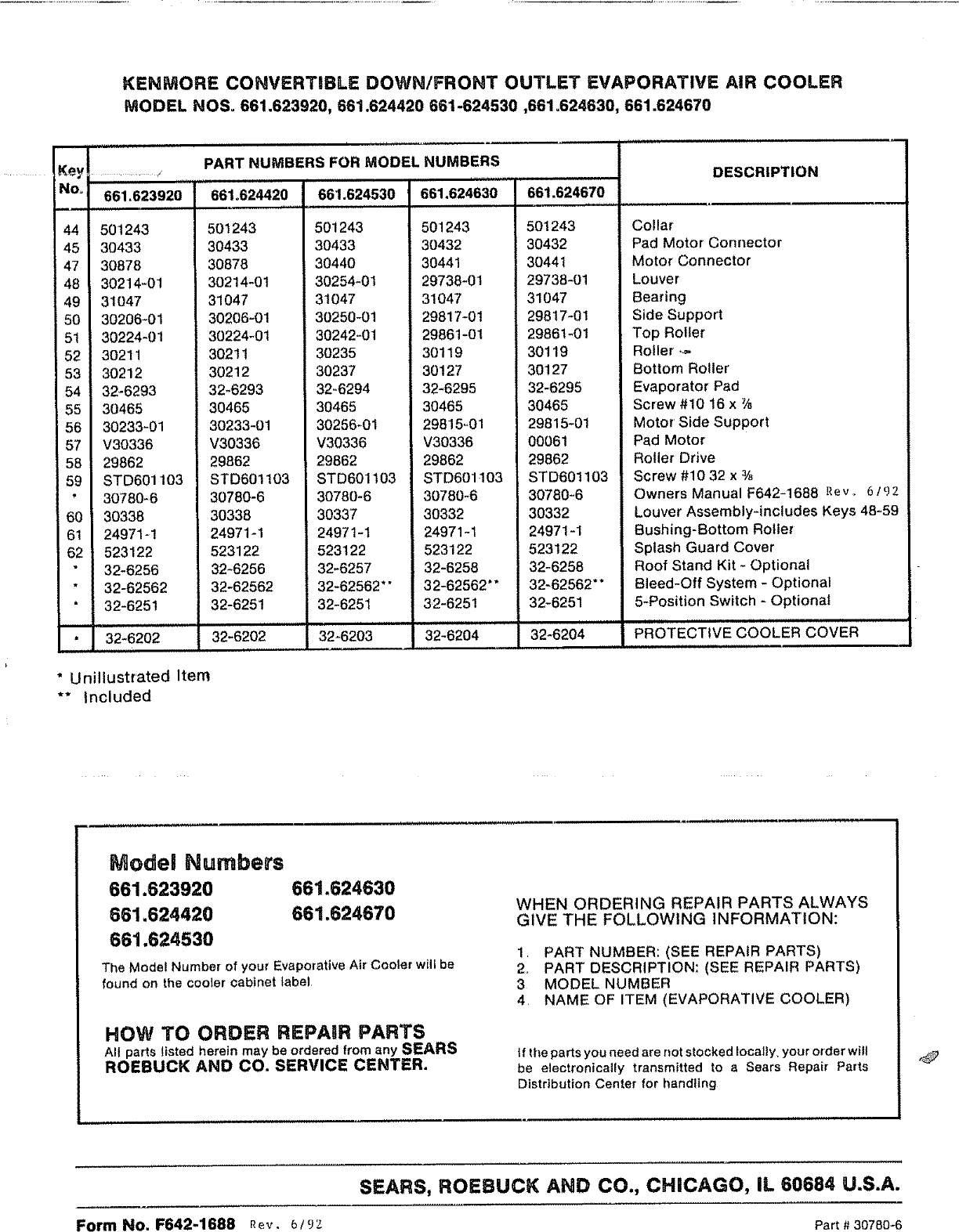 Sears Kenmore 661 62392 Users Manual