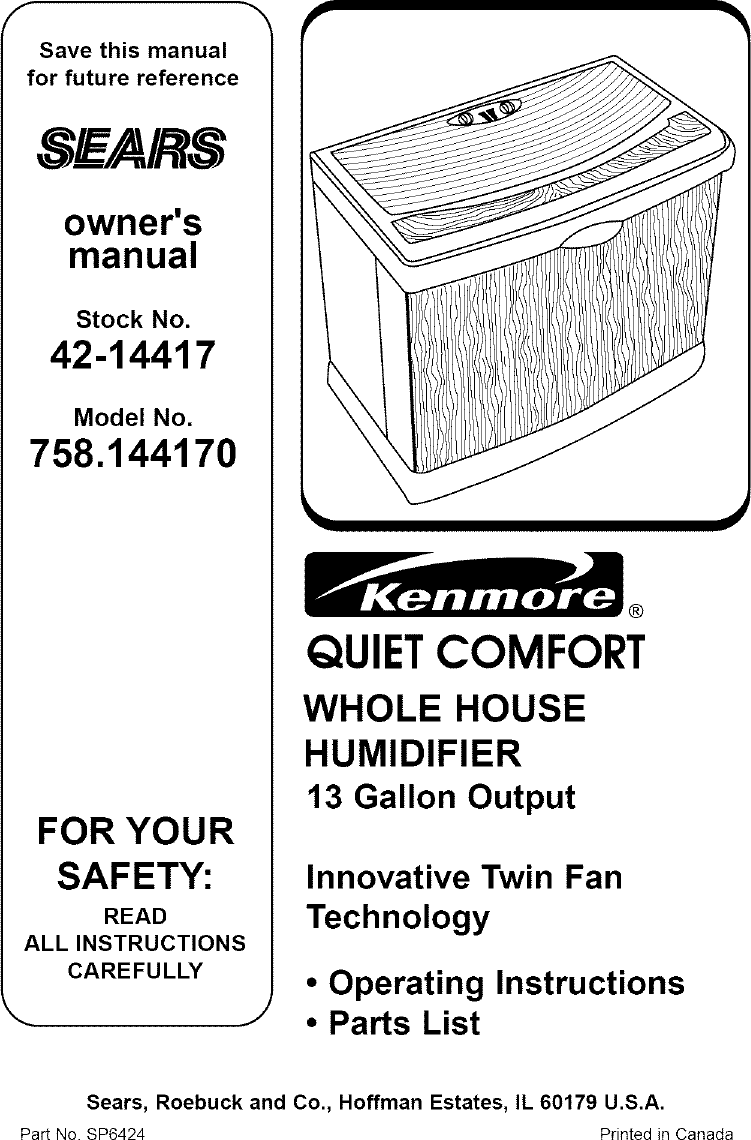 Sears Quiet Comfort 758 14417 Users Manual