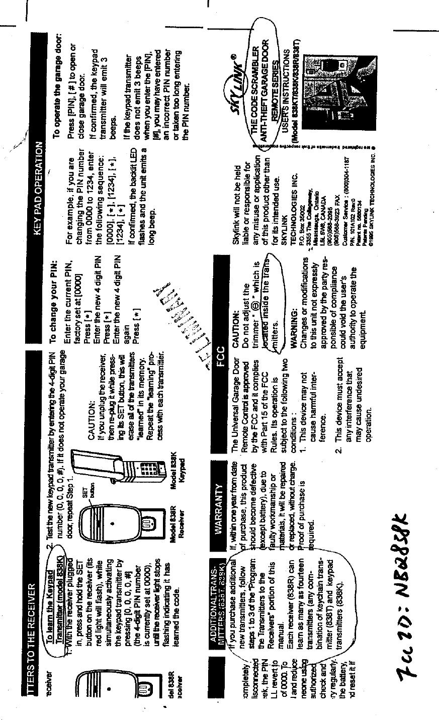 Secure Pro 838K Keypad Transmitter User Manual