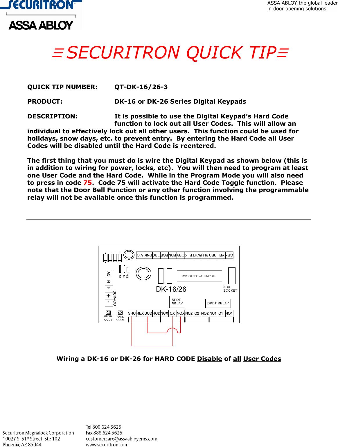 Securitron Qt Dk 16 26 3 Hard Code Diable Of User Codes Disable 137 Dpdt Relay Function K B Disableof