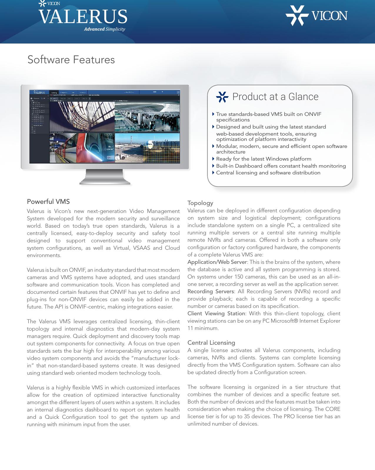 Security Valerusswfeatures Datasheet User Manual Valerus