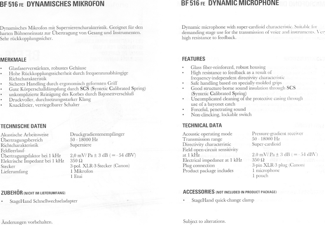 Sennheiser Black Fire Dynamic Bf516Fe Users Manual