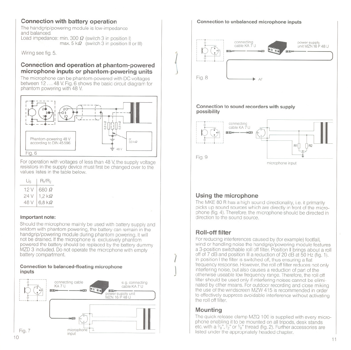 Sennheiser Electret Condenser Mke 80 R Users Manual Microphone Wiring Diagram Connection With Battery Operation