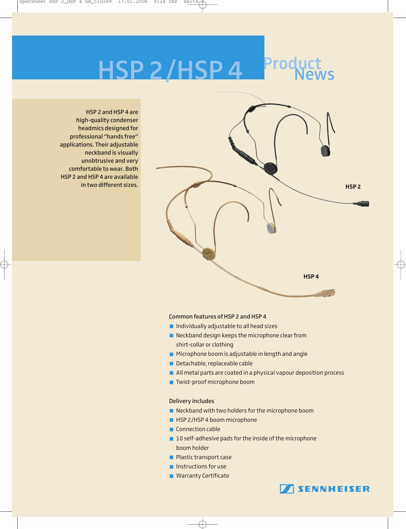 Sennheiser Hsp 2 M Users Manual Specsheet 4 Gb 510289 Microphone Wiring Diagram
