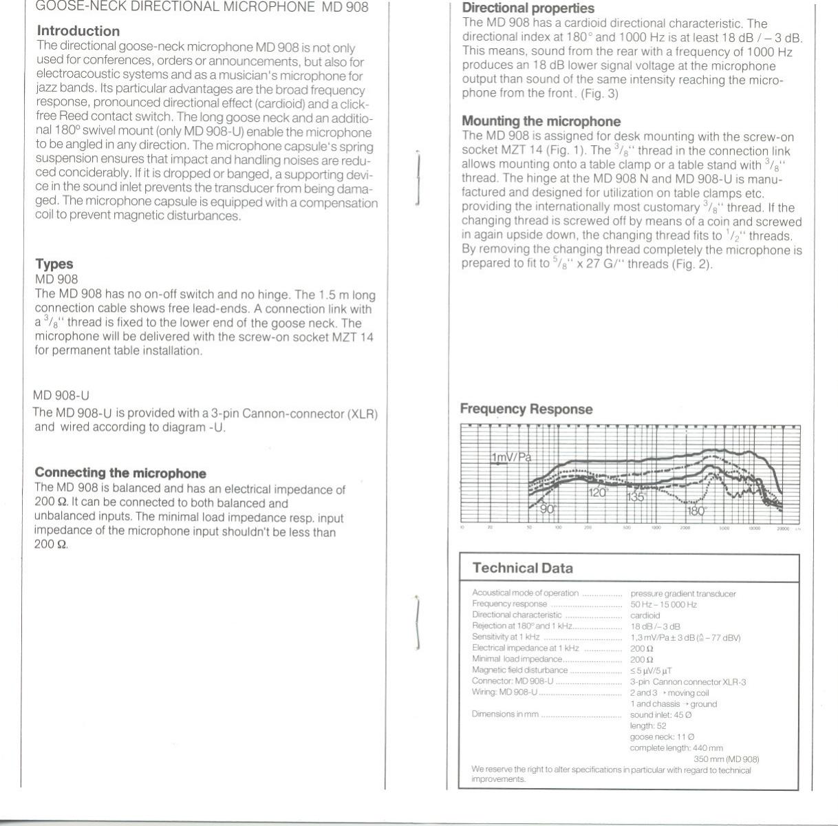 Sennheiser Md 908 Users Manual Microphone Wiring Diagram Page 4 Of 6