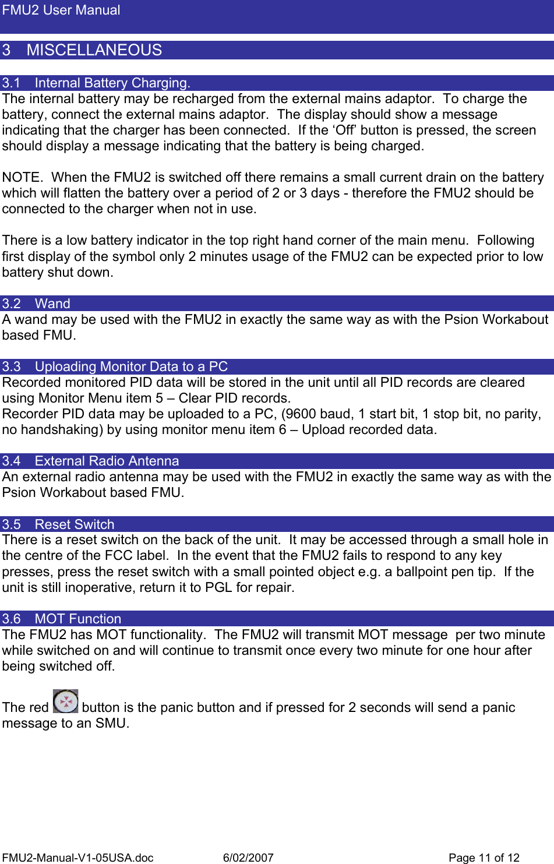 Serco Geografix FMU002 Alarm Device User Manual Manual