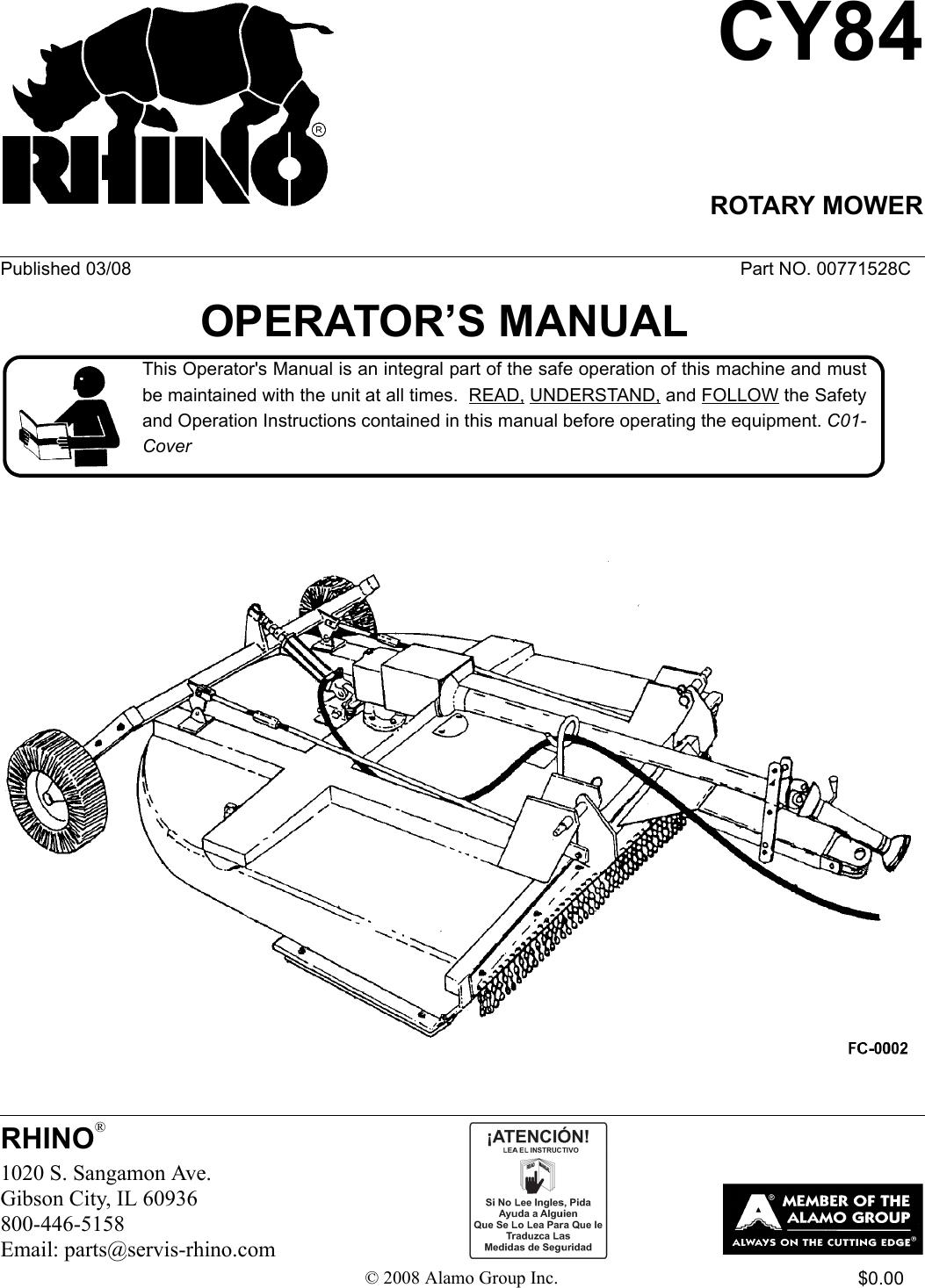 Servis Rhino Cy84 Users Manual Book