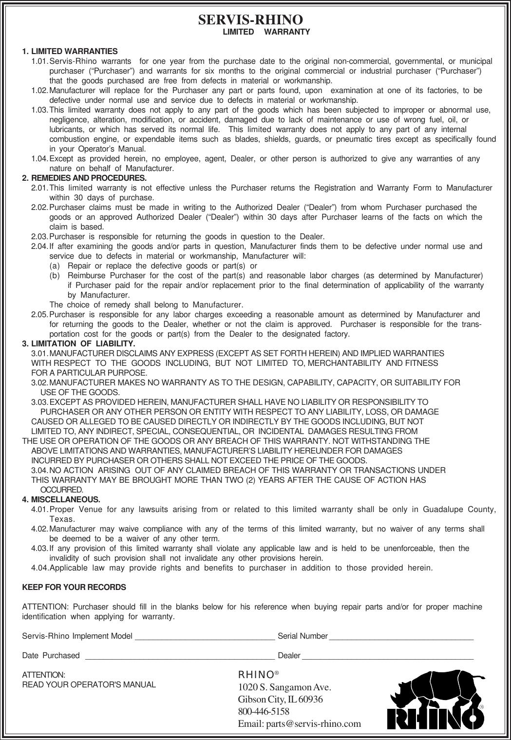 Servis Rhino Dm112 Users Manual 1 Warranty