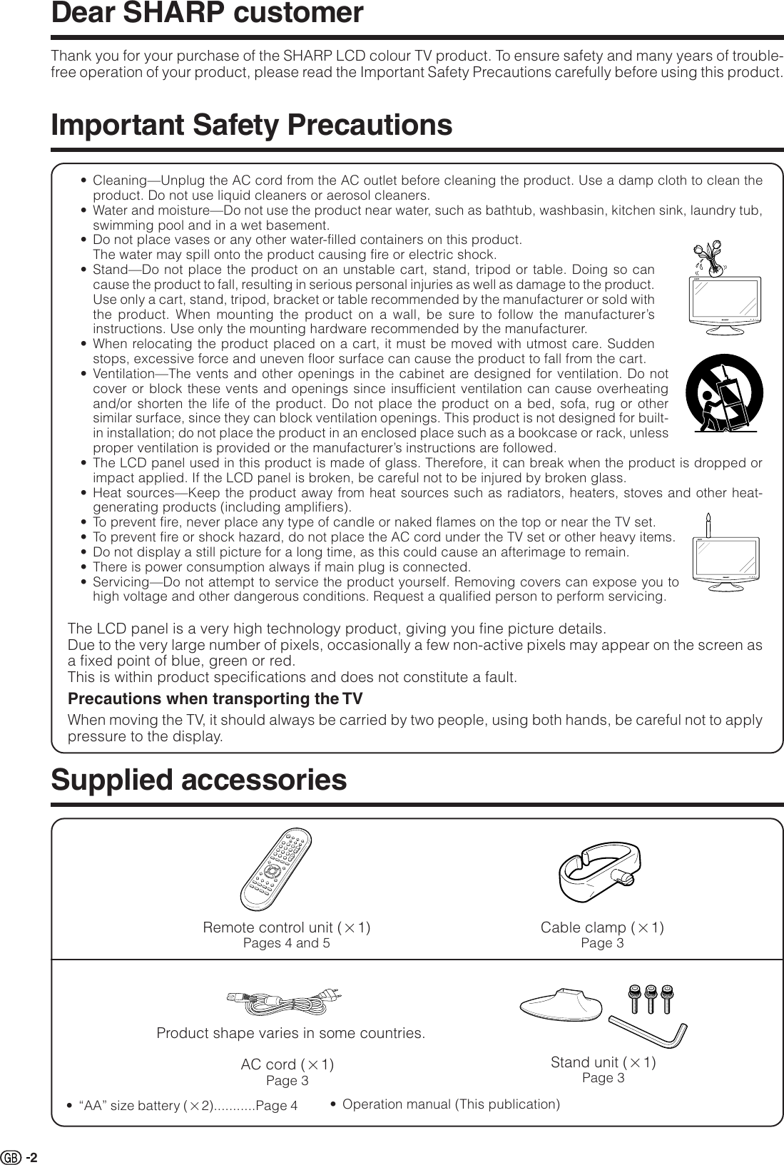 Sharp LC 19D1S 19D1E/S Operation Manual GB User To The