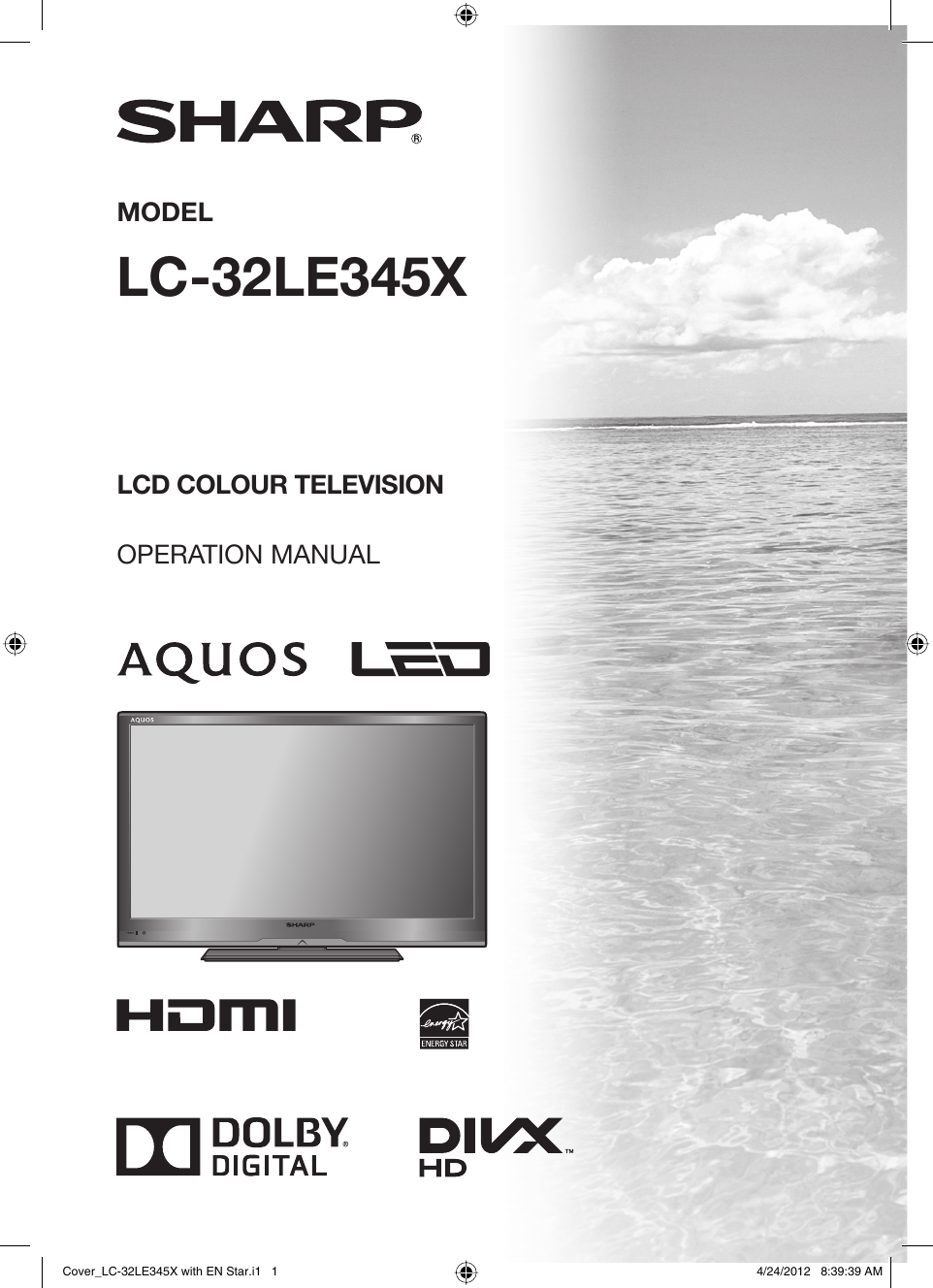 Sharp LC 32LE345X LC32LE345X_EN With En Star User Manual To The ...