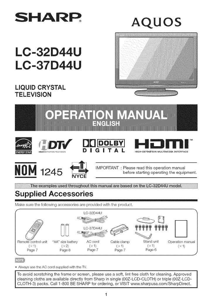 Sharp LC 32D44U User Manual TV LCD Manuals And Guides L0907064