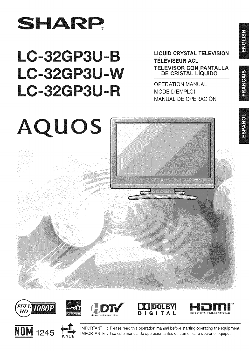Sharp LC 32GP3UB User Manual LCD TELEVISION Manuals And