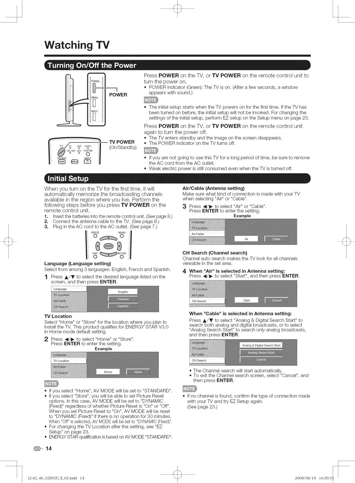 Sharp LC 42D65U User Manual LCD TELEVISION Manuals And