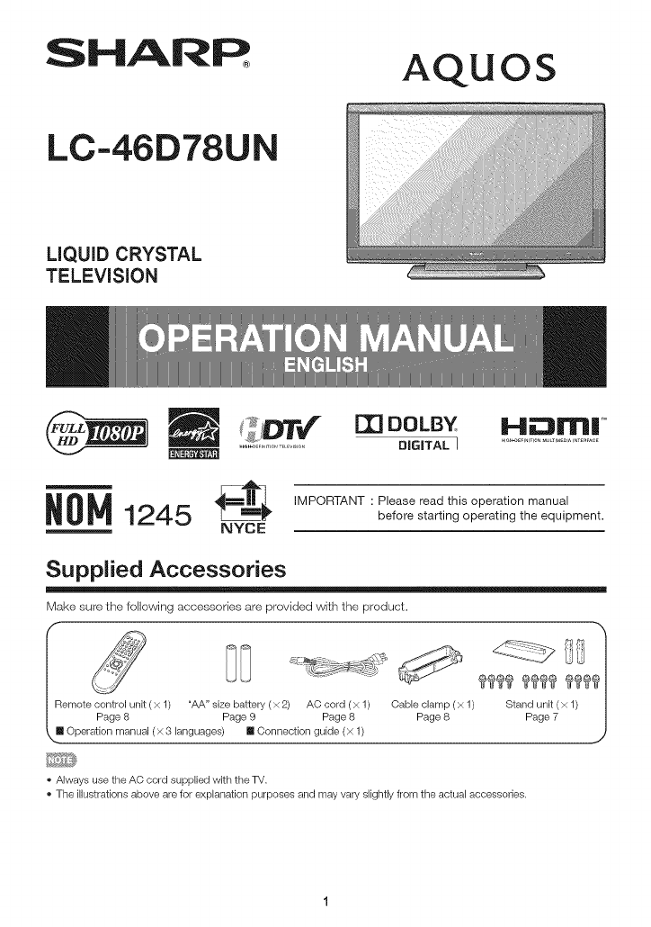 Sharp LC 46D78UN User Manual LCD TELEVISION Manuals And