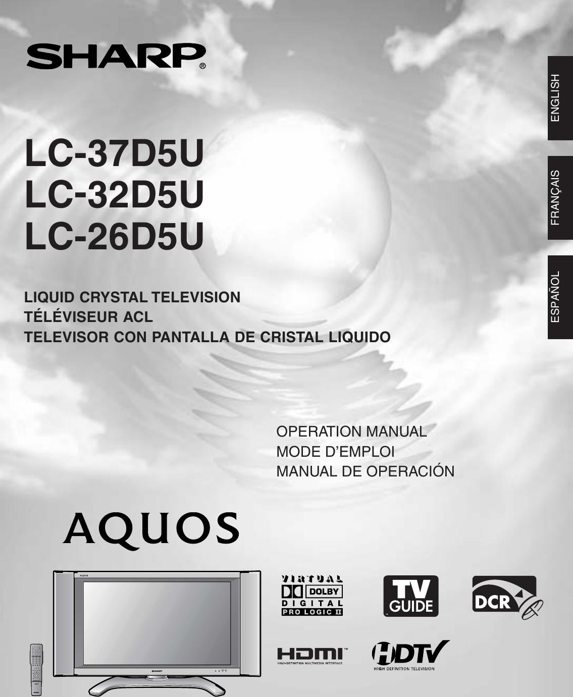 Sharp Aquos Lc 26D5U Users Manual 37D5U   32D5U Operation