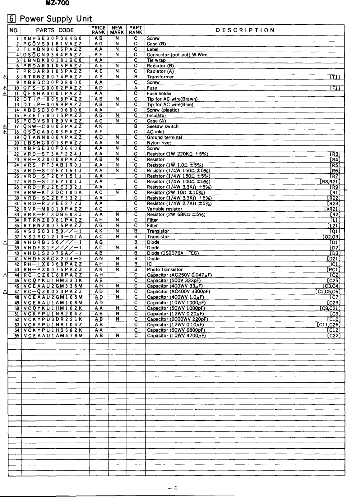 Sharp Personal Computer Mz 700 Users Manual Service