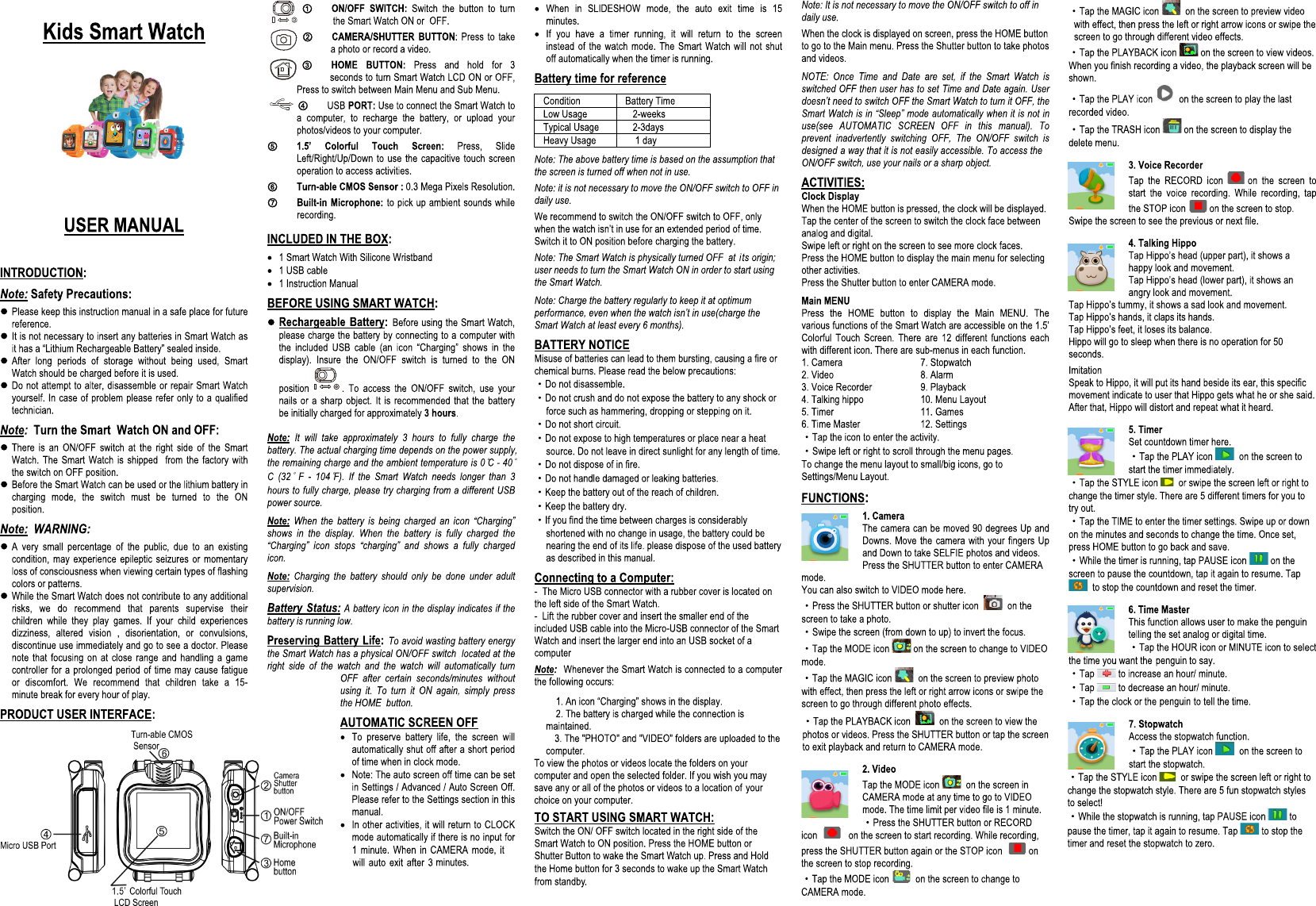 Sharper Image KIDS SMART WATCH MANUAL A4 new 6 206196
