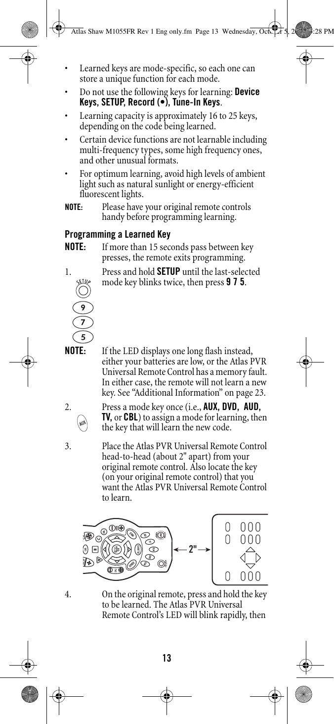 Shaw Atlas Pvr Universal Remote Control Users Manual M1055FR
