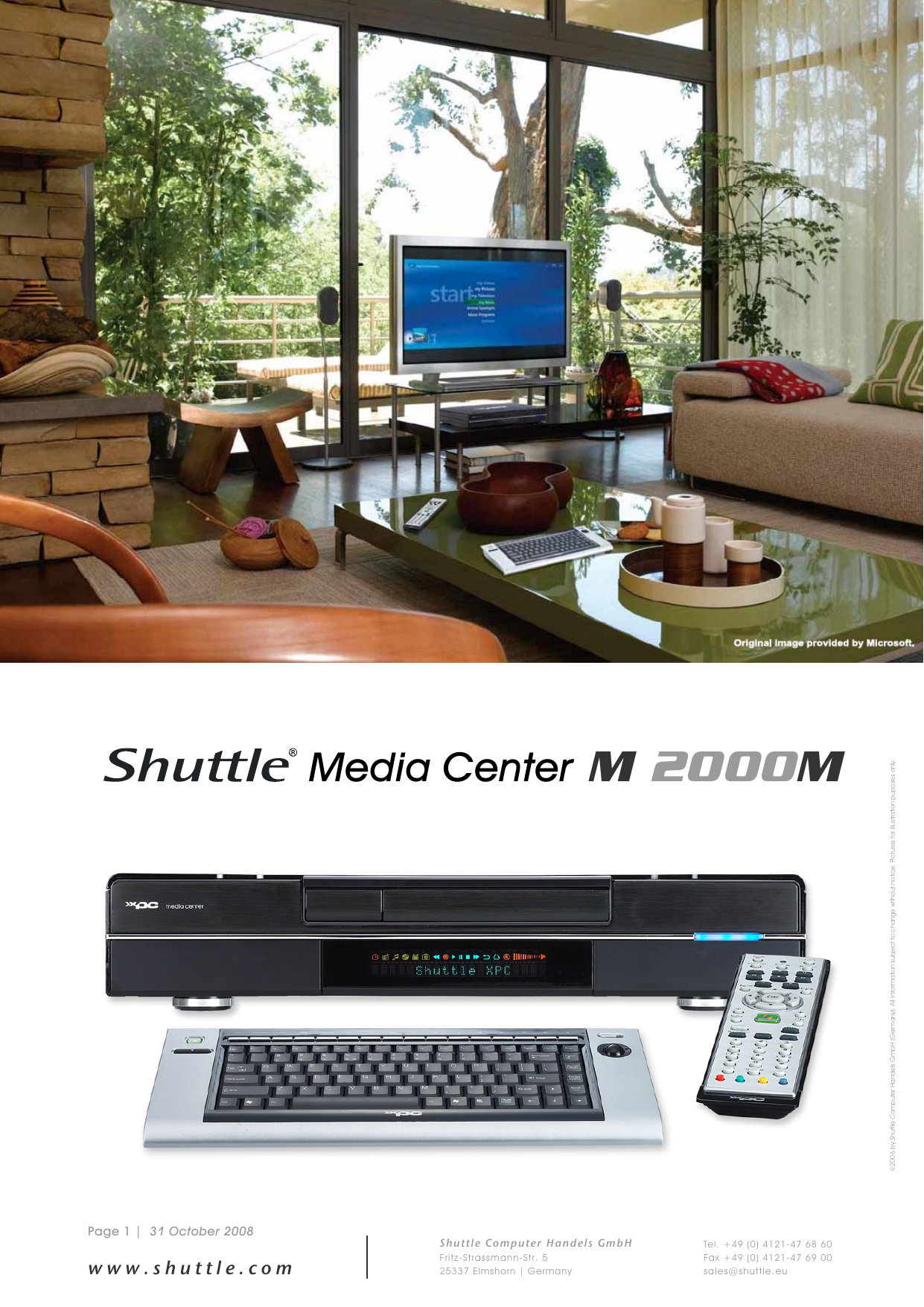 Shuttle Computer Group Media Center M 2000M Users Manual