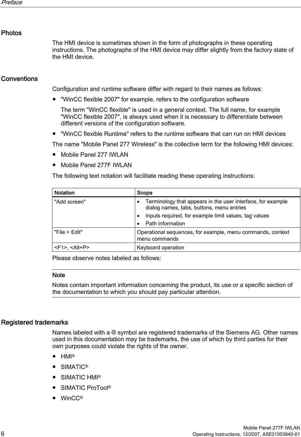 Siemens 277IWLAN-V100 Mobile Panel 277 IWLAN User Manual