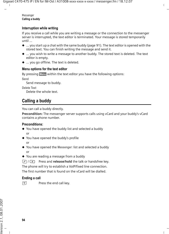 Siemens Gigaset C470 Ip Users Manual 475